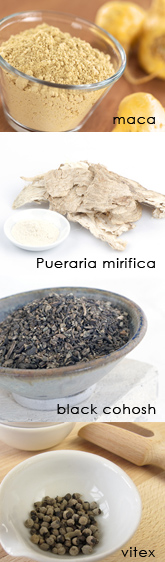 Herbs commonly used to treat menopause and perimenopause are: maca, pueraria mirifica, black cohosh, vitex